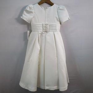 Us Angels Dresses - US ANGELS SHORT SLEEVE IVORY SATIN DRESS